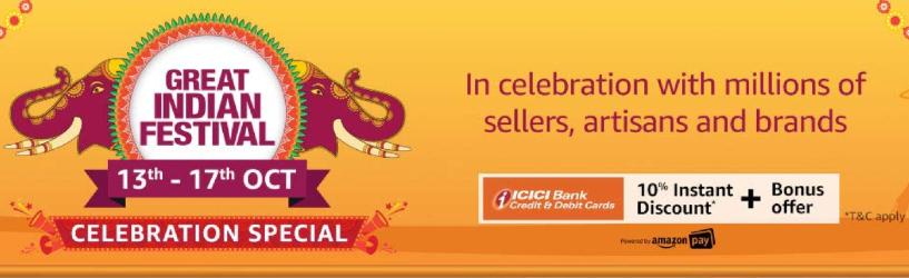 Amazon Great Indian Festival Sale diwali offers 2019