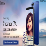 Huawei Honor 7A [3GB, 32GB, Blue] Flipkart Amazon price, specifications, Buy Online starting just at Rs 8,999, Extra 10% Instant Discount on SBI Credit Cards