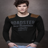 Get Flat 50% OFF on Roadster Black Flock Print T-Shirt with Suede Shoulder Patches just at Rs 399 only From Myntra