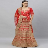 Buy Womens Red Gold Shadi Lahanga with Unstitched Blouse with Dupatta online upto 75% OFF