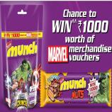 Woohoo Nestle Munch Marvel Merchandise Rs 1000 Free Voucher Offers-  Win Rs 1000 Voucher of Marvels