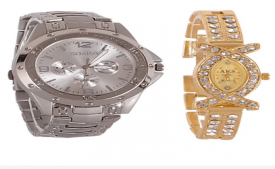 Buy 1 get 1 Rosra Silver Round Analog Watch at Rs 269 Only