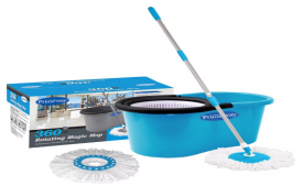 Buy Primeway 360 Degree Rotating Dark Blue 5500 ML Magic Spin Mop Set with 2 Microfibre Mop Heads just at Rs 389 Only From Pepperfry