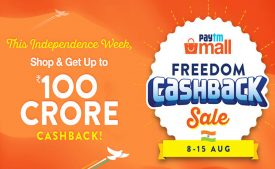 Paytm Mall Freedon cashback Sale Offers [8th-15th Aug]: Get Upto 80% OFF on Clothing, Grocery, Electronics + Extra 10% Cashback* on Using ICICI Bank Credit Cards