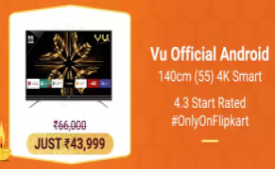 Buy Vu Official Android 140cm (55 inch) Ultra HD (4K) LED Smart TV (55SU134) just at Rs 43,999 Only + Extra 10% Instant Discount* with SBI Credit Cards