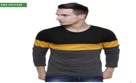 Buy Urbano Fashion Color block Men Round Neck Multicolor T-Shirt just at Rs 294 Only from Flipkart