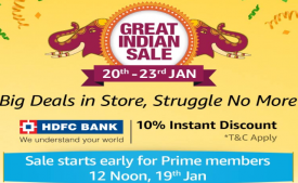 Amazon Great Indian Sale 2019 Offers: Upto 80% OFF On Mobiles, Clothing, Electronics, TV and Appliances + Extra Discount using HDFC Cards