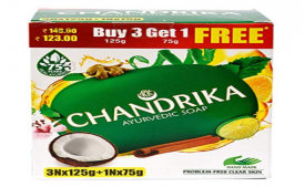 Buy Chandrika Ayurvedic Soap, 125g (Pack of 3) with Free 75g at Rs 62 from Amazon