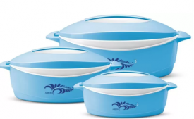Buy Milton Delight Pack of 3 Thermoware Casserole Set  (3000 ml) from Flipkart at Rs 599 Only