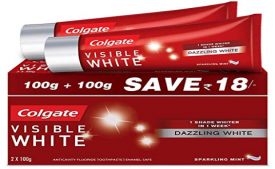 Buy Colgate Visible White Dazzling White Toothpaste, Sparkling Mint - 200gm (Saver Pack) at Rs 83 From Amazon Pantry