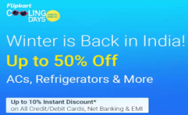 Flipkart Cooling days Offers: Get Upto 50% OFF on Air Conditioners, Refrigerators and ACs + Extra 10% Off With All Bank Cards & EMI