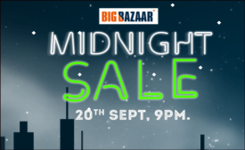 Big Bazaar Midnight Sale Offers [21st – 22nd Sept]: Get Free Vouchers and Upto Rs 500 Discount on Groceries, Fashion, Electronics and more