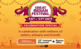 Amazon Great Indian Festival Sale 13th-17th October 2019 Offers: Upto 80% OFF On Mobiles, Clothing, Electronics, TV & Appliances + Extra Discount using ICICI Cards