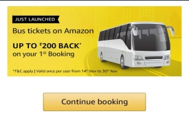 Amazon Bus Booking Coupons Offers: Get Flat 50% cashback Upto Rs 250 Extra Rs 100 Cashback on Bus Bookings on Amazon App