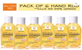 Buy NutriGlow NATURAL'S Juicy Real Orange Portable Rinse Free Hand Rub/ Kills 99.99% Germs (Pack of 6) Hand Sanitizer Bottle at Rs 300 from Flipkart