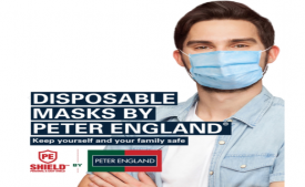 Buy Peter England Light Blue Pack of 30 3 Ply Disposable Mask at Rs 300 only
