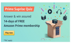 Amazon Prime Surprise Quiz- Answers and Win Free Prime membership