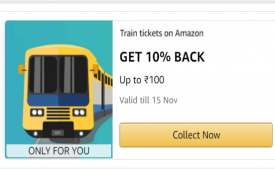 Amazon Train Ticket Booking Coupon Offers: Flat 12% Cashback Upto Rs 120 on Train Ticket Bookings