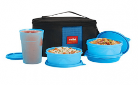 Buy Cello Max Fresh Super Combo Polypropylene Lunch Box, 4 Pieces, Blue at Rs 379 Only