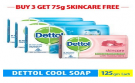 Buy Dettol Cool Soap - 125 gm (Pack of 3) + Dettol Skincare 75 gm Free At Rs 118 Only