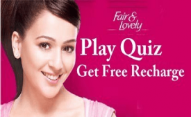Fair & Lovely Beauty Offer - Get Free Rs 10 Recharge For Answering Simple Question