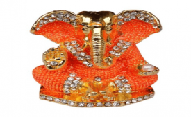 Buy Ganesha idol from 4.5x4 cm orange from TIEDRIBBONS at Rs 299 Only