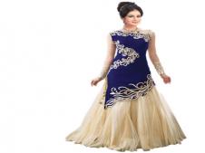 Buy Godavari Fashion Hub Blue Georgette Anarkali Gown at Rs 688 Only