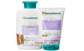 Himalaya Baby Lotion (200ml) and Cream (100g) Combo (ALMOND OIL, OLIVE OIL) at Rs 80 Only