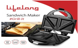 Buy Lifelong LLSM115G 750-Watt 4-Slice Grill Sandwich Maker (Black) at Rs 460 only from Amazon