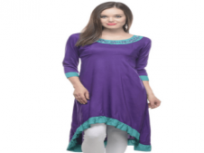 Buy Lingra Purple Poly Rayon Long Plain Woven Kurti at Rs 491 Only