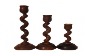 Buy Pindia Set Of 3 Small Medium Large Spiral Design Wooden Candle Holder at Rs 314 Only
