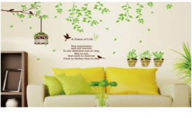 Buy StickersKart Wall Stickers Flower Pot Garden with Leaves at Rs 199 Only