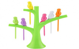 Buy Birdie Plastic Fruit Fork Set, 6-Pieces with stand, Multicolour at Rs 80 from Amazon