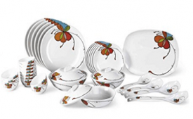 Buy Borosil Melamine Vibgyor Fidenza Dinner Set, 35 Pieces at Rs 2,598 from Amazon