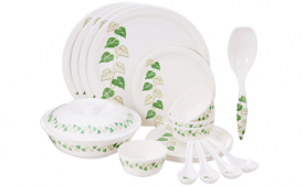 Buy Borosil Milano Mulberry Melamine Dinner Set, 19-Pieces at Rs 955 from Amazon