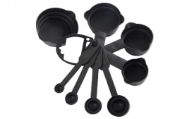 Buy Bulfyss 8Pcs Plastic Measuring Cup and Spoon Set, Black at Rs 198 from Amazon