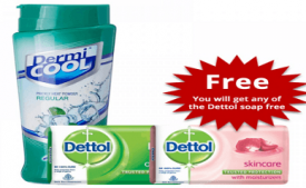 Buy Dermicool Prickly Heat Powder With Dettol Soap Free - 150gm + 75gm at Rs 79 from Zotezo
