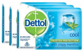 Buy Dettol Soap Value Pack, Cool - 125gm, Pack of 3 at Rs 89 from Zotezo