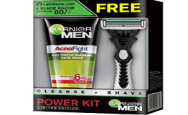 Buy Garnier Men Acno Fight Face Wash, 100g with Free Lets Shave Razor at Rs 166 from Amazon