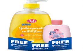 Buy Johnsons Baby Shampoo (475ml) with Free Baby Lotion (100ml) at Rs 246 from Amazon