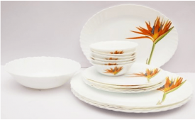 Buy LaOpala Dew Dinner Set, 27-Pieces, White and Lavender from Amazon at Rs 1,699 Only