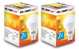 Buy Moserbaer 7 W B22 LED Bulb (White, Pack of 2) at Rs 370 from Flipkart