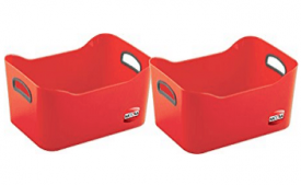 Buy Nayasa Plain Passion 2 Piece Basket, Red at Rs 99 from Amazon