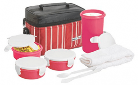 Buy Nayasa Toasty Plastic Lunch Box, 4-Pieces, Red at Rs 326 from Amazon