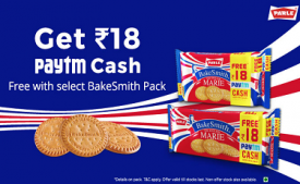 Get Rs 18 paytm Cashback FREE on Parle Bakesmith Marie pack