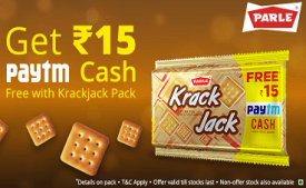 Paytm Krackjack Offers: Get Rs 15 Cash Free with Parle Krackjack pack