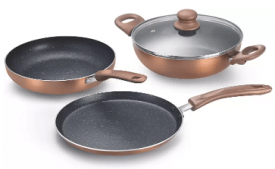 Buy Prestige Omega Kitchen Cookware Set Aluminium, 3 - Piece at Rs 1,499 from Flipkart