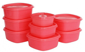 Buy Princeware Plastic Storage Container Set, 8-Pieces, Pink at Rs 161 from Amazon