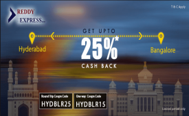 Reddy Express Coupons Offers - Flat 50% Cash back Bus Ticket Booking - May 2018