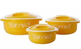 Buy Solimo Sparkle Insulated Casseroles Set with Roti Basket, 3-Piece at Rs 449 from Amazon